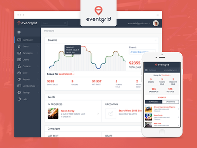 Eventgrid UI/UX Dashboard financial statistic web dashboard ui ux interface design social icon chart user experience