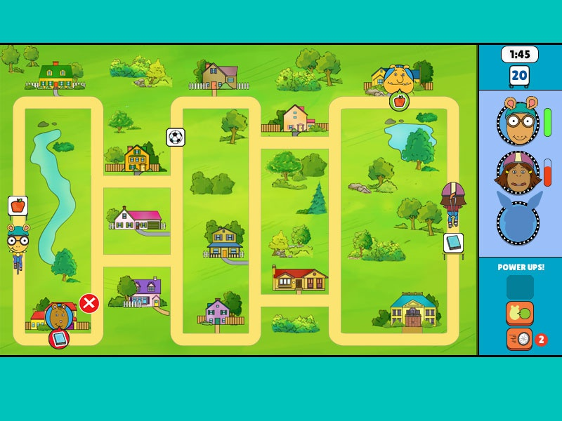 """""""Arthur Delivers"""" Game Interface illustration pbskids kids fun games arthur characters interface"""