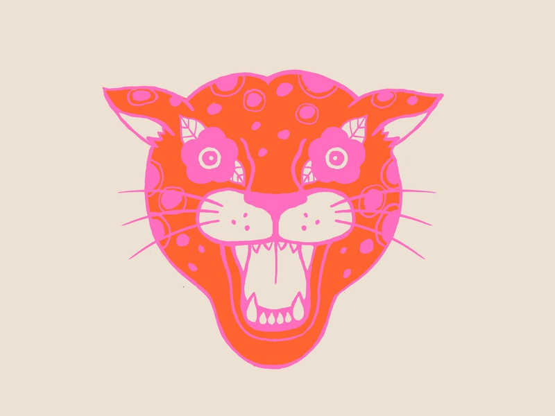 Neon Cheetah neon jungle wild cat cheetah icon illustration