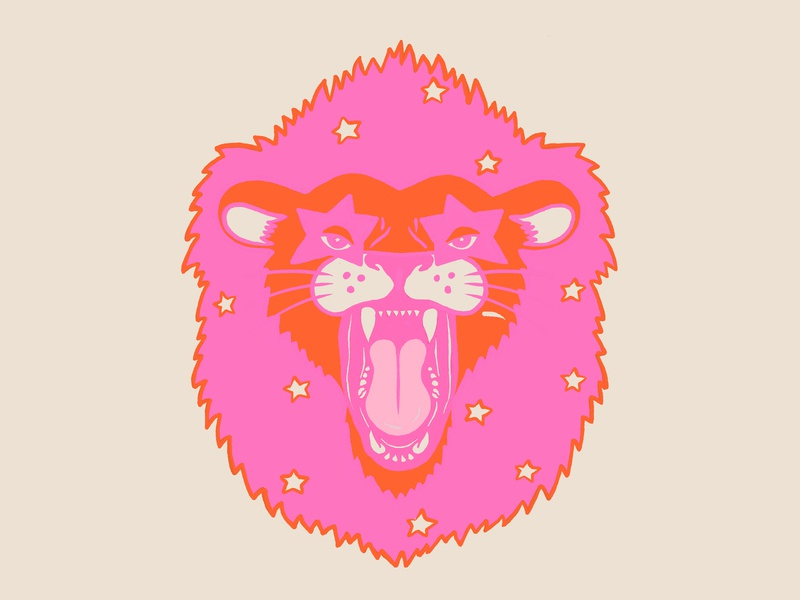 Neon Lion cat stars neon lion icon mark illustration
