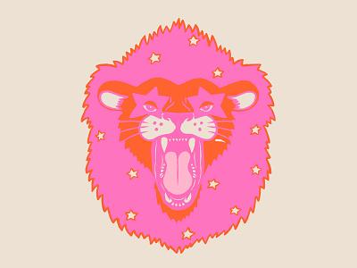 Neon Lion cat stars neon lion icon mark illustration