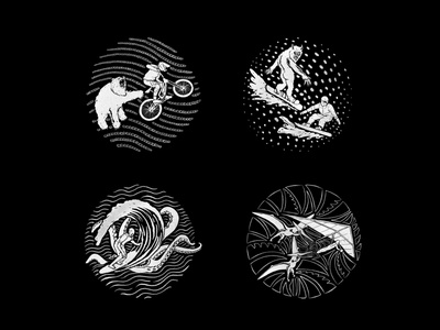 Strange Creatures black and white illustration icons ranger creatures strange