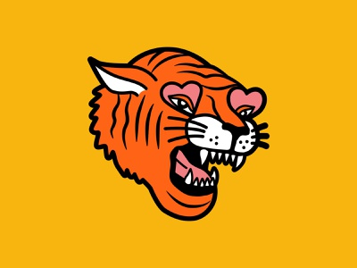 Fierce Tiger patch vector icon illustration heart tiger