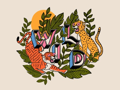 Wild animals typography lettering hand lettering illustration cheetah tiger wild