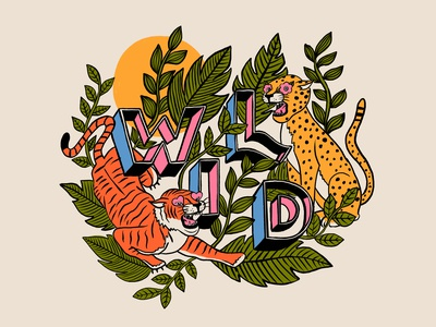 Wild animals typography lettering hand lettering illustration cheetah tiger wild