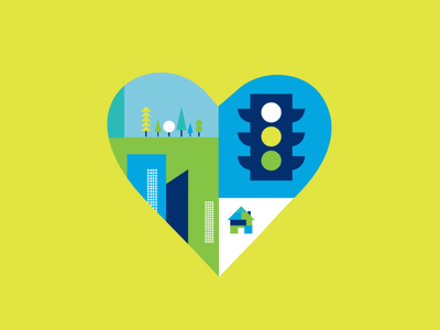 Ford Drive 4 Ur Community trees houses city buildings traffic light heart community branding mark icon logo