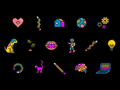 Kid's Day Icons branding multicolor icons community school children kids