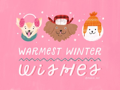 Warmest wishes greeting greeting card christmas winter dog lettering illustration