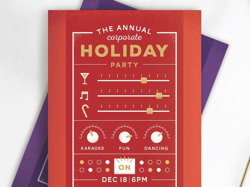 Party Switchboard typography christmas funny fun new year party holiday postcard invite
