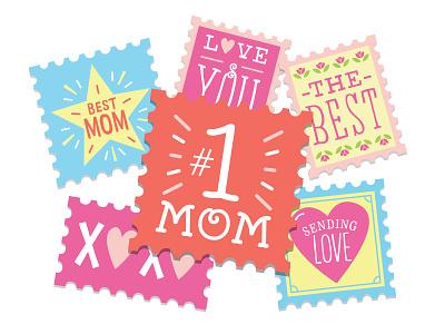 Stamps for Mom hallmark mom postcard ecard mothers day illustration love stamp