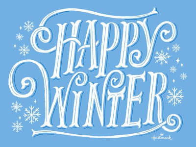 Happy Winter hallmark ecard hand lettering snowflake winter type lettering