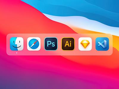 MacOS Big Sur Icons adobe illustrator photoshop finder safari sketch macos icon vs code icons icon big sur macos