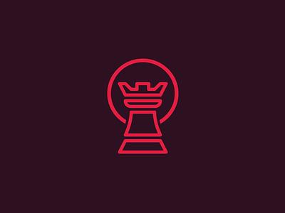 Rook logo chess circle dark red logo rook