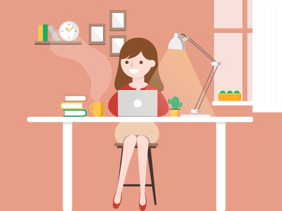 Workspace motion graphics cute process work vector graphic design illustration icon character animation 2d