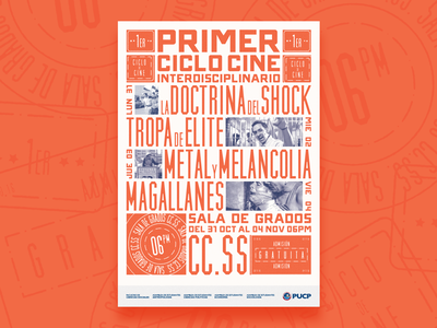 Poster Ciclo de Cine students university cinema broadside typography poster