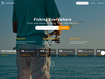 Fish Point | Landing Page Design Concept web design ux fishing trips fishing landing page concept landing page ui design website design figma