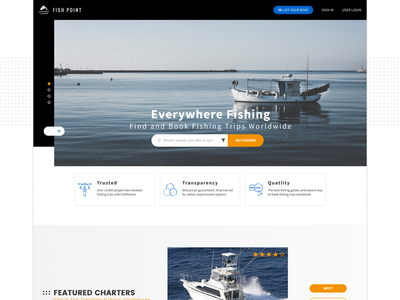 Fish Point | Home Page Concept website design web design ux ui home page concept fishing trips fishing figma design