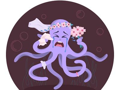 Runaway Bride illustration wedding octopus