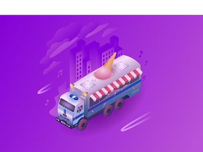 fuck the police isometry trailer ice cream van wagon police car illustration