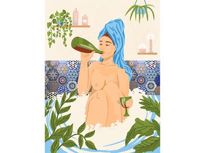 A girl in the bathroom nudeart nudes nude bathing bathroom bath female character female face body girl procreate app procreateapp procreate art procreate illustration