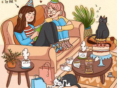 2020 Birthday Scene charater design adobe photoshop book illustration illustrations design illustration art illustration illustrator
