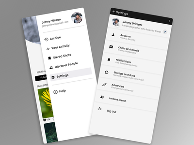 Daily #008 - Setting Page mobile app user profile profile page settings page challenge design ui uiux 008 dailyuichallenge
