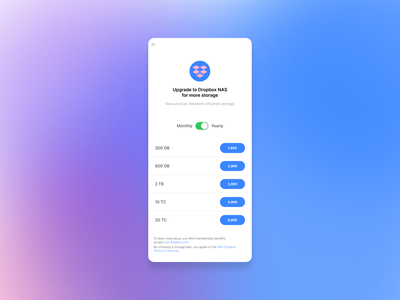 Dropbox - Network-attached storage (NAS) purchase app colours ui figma upgrade premium apps uidesign dropbox