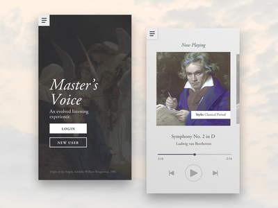 Master's Voice — Music Player Concept beethoven classical music serif typographic music player mobile ui ui
