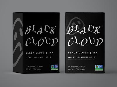Black Cloud Tea experimental typography tea package packaging design packaging