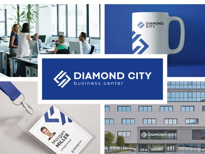 Logo and corporate identity for the Diamond City business center icon typography vector branding illustration design logo