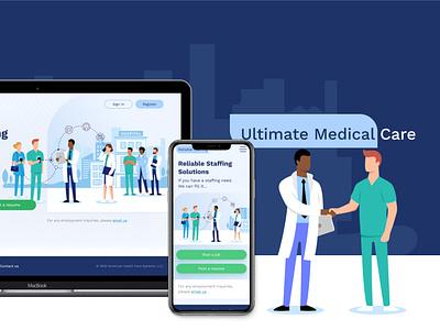 Website development for Ultimate medical care design illustration mobial ux vector medical website branding logo ui