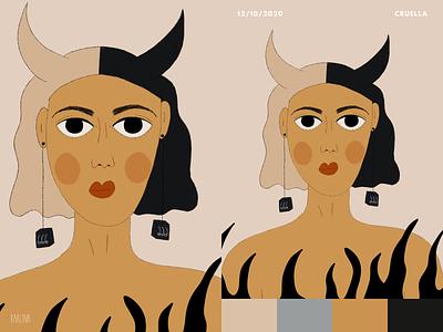flames, 666 & Cruella design portrait illustration portrait art portrait girl portrait illustrations illustration art illustration