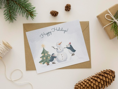 Snowman postcard snow tree 2021 new year holidays penguin snowman illustration