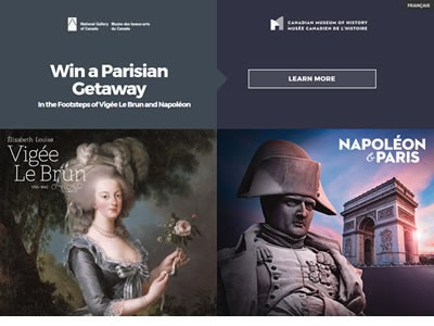 Vigee Le Brun / Napoleon & Paris Contest Micro website website-design
