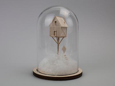 Escapist Fantasy NO.01 handmade craft sculpture excavator model balsa wood miniature
