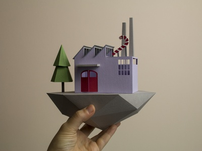 Candy factory  low poly paperart papercraft christmas