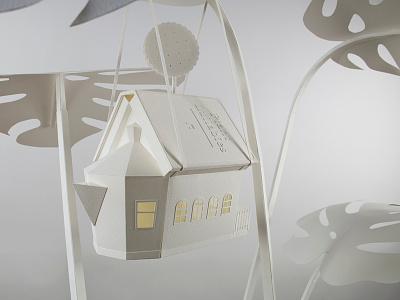 "Detail of paper sculpture ""Plant Life"" architecture plant craft handmade paper papercraft paperart"