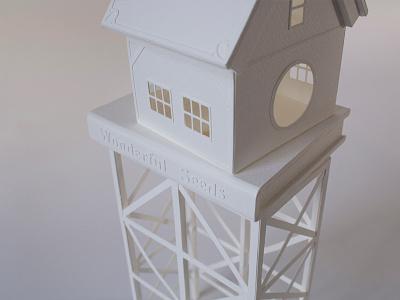 Plant Life, detail miniature tiny house white handmade papercraft paper books