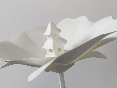 Poppy flower plant architecture handmade craft paper pagoda flower