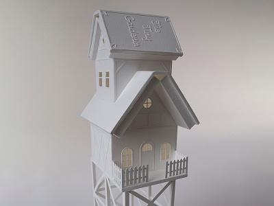 The Tiny Gardener miniature tiny house white handmade papercraft paper books