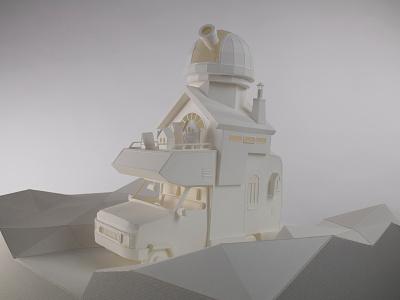 Stargazer XL papercraft low poly landscape paper mobile home camper