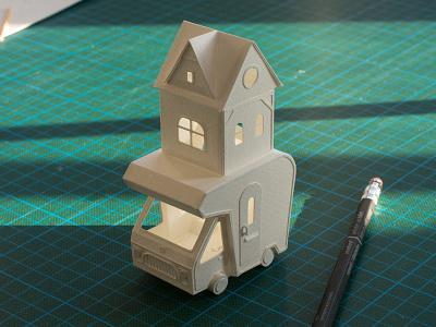 Paper Camper Miniature Sculpture papercraft craft van camper sculpture paper miniature