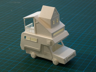 Paper Camper Miniature Sculpture papercraft craft model handmade white architecture paper