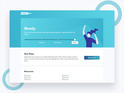 VideoMyJob Readiness Report illustration colorful landing page fun simple website clean modern minimal ux ui