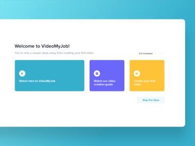 VideoMyJob Onboarding Checklist design web app app simple website minimal ux modern ui clean
