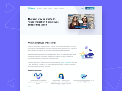 VideoMyJob Website -  Employee Onboarding Solution Page illustration color landing page simple website minimal ux ui modern clean