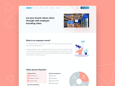 VideoMyJob Website -  Employer Branding Solution Page illustration color landing page fun website minimal ux ui modern clean