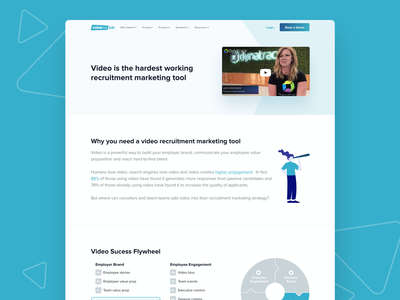 VideoMyJob Website -  Recruitment marketing Solution Page illustration color landing page fun website minimal ux ui modern clean