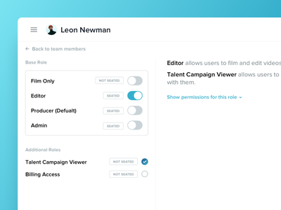 VideoMyJob Permissions and Team Roles admin dashboard roles permissions web app minimal ux ui modern clean