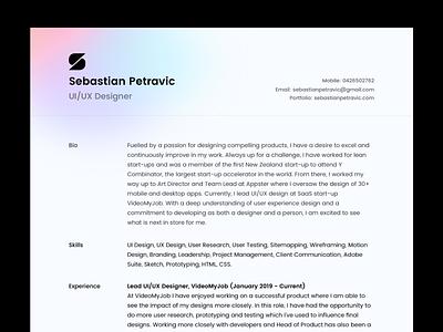 New Resume personal brand logo resume cv gradient sleek minimal modern clean